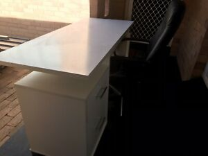 White desk and black leather chair
