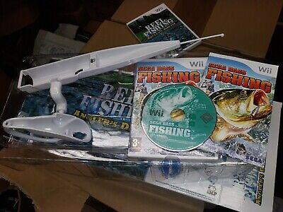 Nintendo Wii FISHING ROD + SEGA BASS FISHING GAME Accessory NEW Boxed