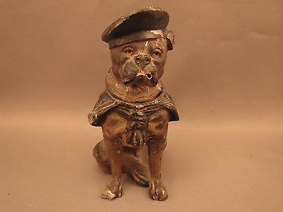 Heyde spelter figural inkwell, Bulldog in a sailor's outfit
