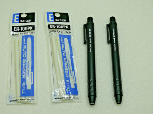3 Faber Castell PushButton Pocket Uni-Eraser 5mm diameter retractable +9 refills
