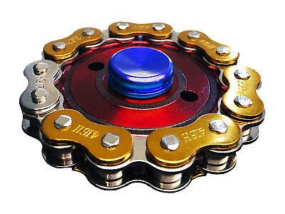 Bike Chain Fidget Hand Spinner Finger Toy Focus Gyro - Red/Gold/Blue