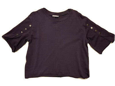 ZARA Womens Gray Crop Top Metal Buttons On Sleeves Sz Small