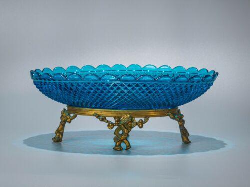 Antique Baccarat Turquoise Crystal Centerpiece gilt bronze base
