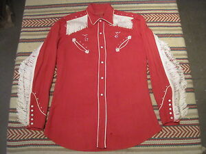 VTG 50s H Bar C Gabardine Fringe Pearl Snap Western Shirt Red 14.5 15 Small ?
