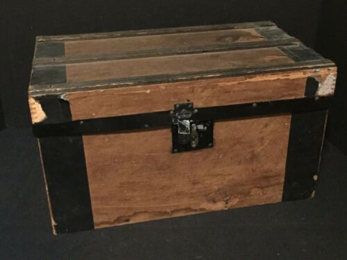 Antique Vintage Wooden Doll Trunk
