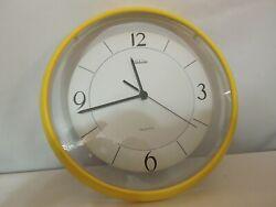 Sunbeam Quartz Wall Clock Yellow Frame Glass Lens 11 Diameter Made in USA