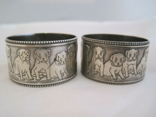 PAIR ANTIQUE SILVER PLATE NAPKIN RING - DOGS PUPPIES Paye & Baker