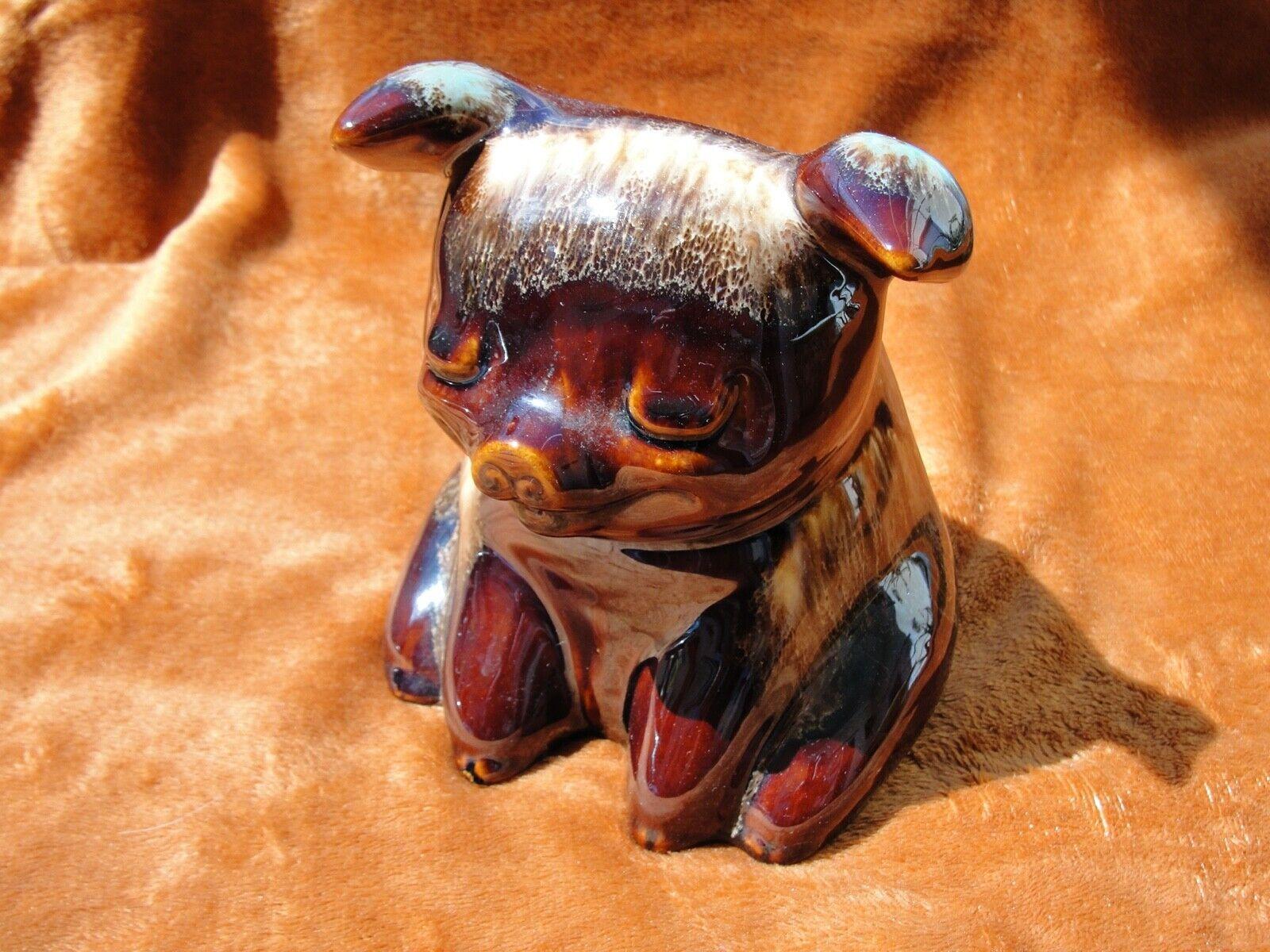 Vintage Hull Piggy Bank Ceramic Brown Drip Glaze 6 Inches USA Number 196 Glazed  - $34.00