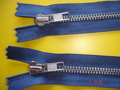 1 Reißverschluß ykk blaugrau 70cm, 2-Wege-RV Metallzähne X99