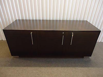 Steelcase Convene Contemporary Credenza 67 Storage Cabinet Dark Walnut Wood