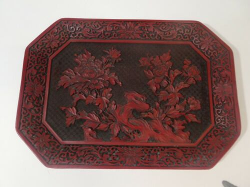 Vintage Chinese Cinnabar Style Red Resin Floral Platter Tray