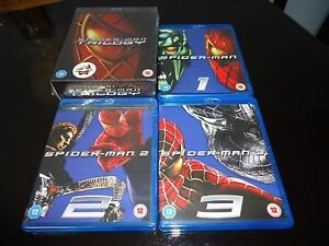 Spiderman Trilogy Complete 4 Discs Box set Blu Ray Extras Brand New Collection