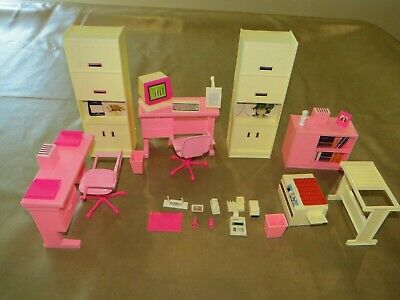 Vintage Arco Barbie Office Furniture Desk Accessories Playset for Doll House!
