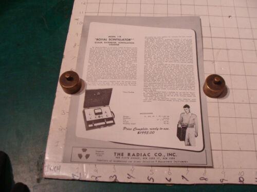 original Vintage 1955 Geiger Counter ad sheet: ROYAL SCINTILLATOR #118