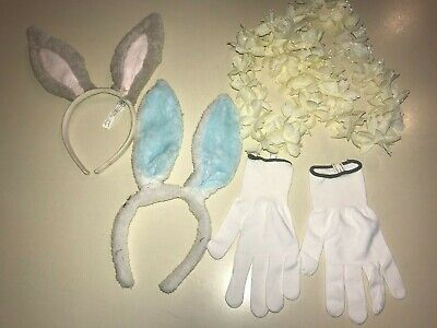 GIRLS EASTER BUNNY FURRY EARS blue tan white gloves one size FLOWER LEI costume ](Bunny Costumes For Girls)