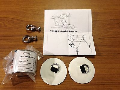 4 Point Davit Lifting Kit WHITE PVC Tube Boat Dinghy Davitt Lift Tender Patch