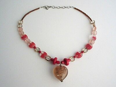 (Beautiful Glass Art & Red Coral Beads Heart Pendant Necklace)