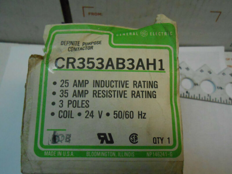 CR353AB3AH1 GE CONTACTOR COIL 24V 3POLE 25 AMP NEW OLD STOCK