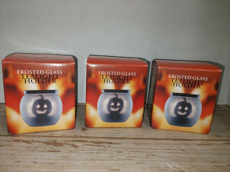 Halloween Glass Frosted Tealight Holder Lot Of 3