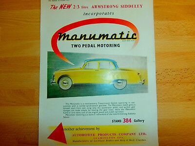 Armstrong Siddeley.Manumatic.  ORIGINAL ADVERT. COLOUR  1955