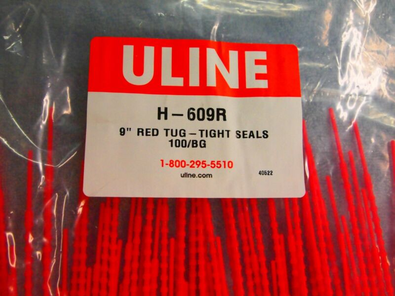 """3 sealed bags of 100 count Uline H-609R 9"""" RED Tug-Tight Seals"""