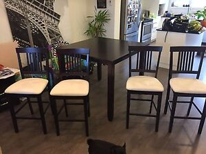 Dark Brown Table 4 High Chairs $100