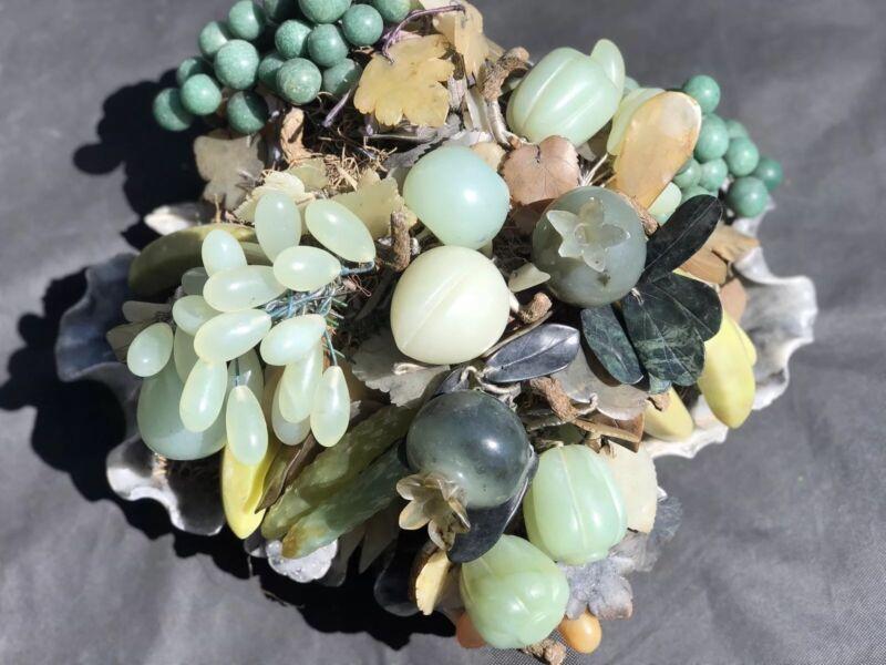 Fantastic Over The Top Chinese Jade, Agate, Gemstone, & Hard Stone Fruit Basket