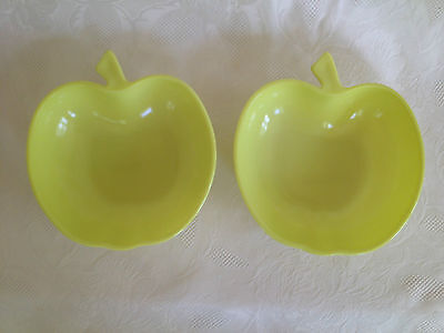Set of 2 Vintage Yellow Apple Candy Nut Glass Dishes