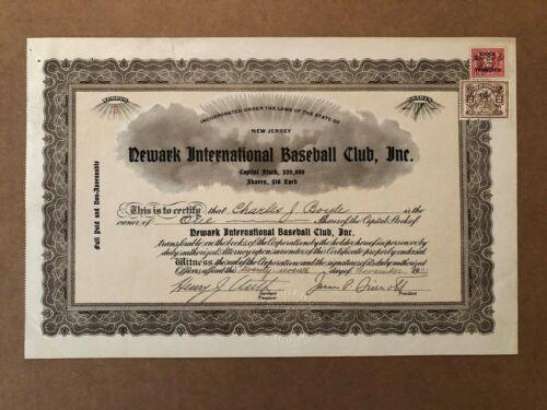 NEWARK INTERNATIONAL BASEBALL CLUB (BEARS) STOCK CERTIFICATE 1931 NY YANKEES