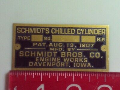 Schmidts Chilled Cylinder Engine Name Tag Reproduction Nameplate