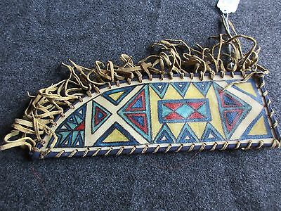 LEATHER SEWN PARFLECHE KNIFE SHEATH, NATIVE AMERICAN INDIAN SHEATH  #BUF-01534