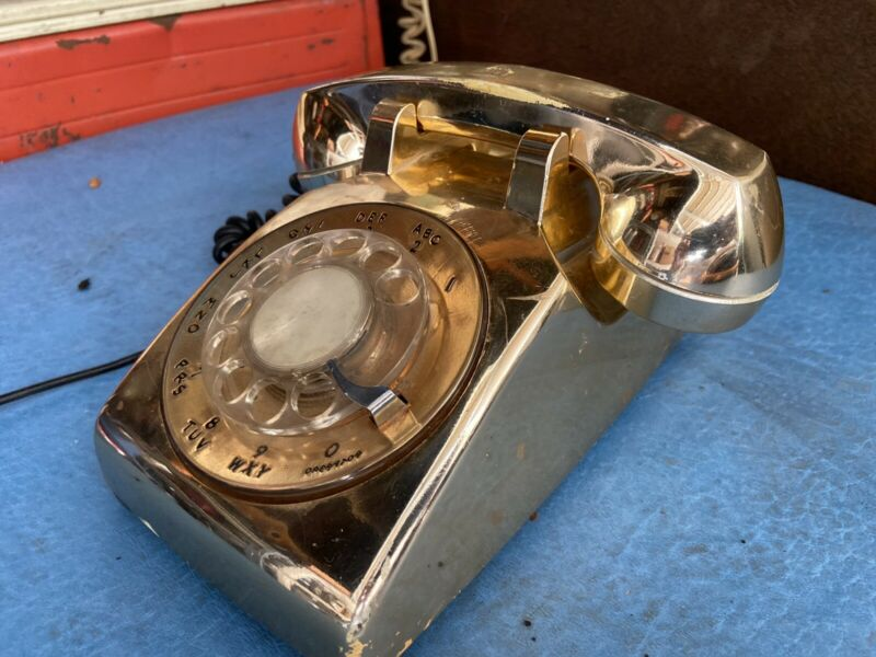 Vintage ! Rotary Desk Phone Gold BEAUTIFUL - HARD TO FIND!!