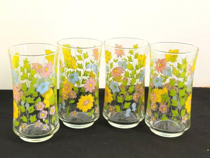 Set Of 4 Vintage Libbey Drink Beverage Glasses Pastel Spring Floral