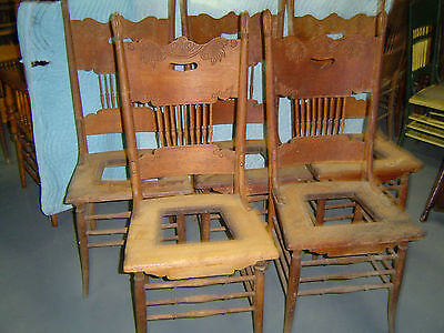 (5 Matching Oak Pressed Back Chairs - Early 1900's -  )