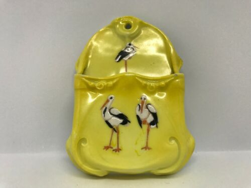 Vintage Royal Bayreuth (Blue Mark) Yellow Stork Match Wall Holder 4 1/2""