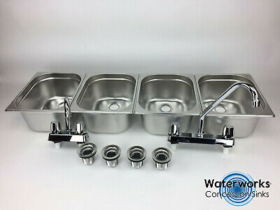 Large Concession Sink 4 Compartment Portable Food Truck Trailer Wfaucets