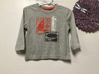 Boys T-shirt size 2 T   gray red-orange white long sleeve Nautica 177