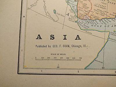 1902 ASIA Map Antique Original China Vintage Korea Japan Thailand Taiwan MAPZ115