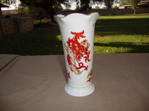 Crown Staffordshire Bone China England Vase Rangoon Scalloped Rim Dragons