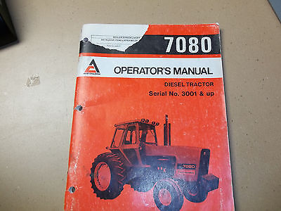 Allis-chalmers Tractor 7080 Operators Manual Part 261571 July 1979