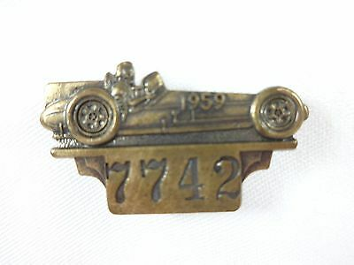 1959 Indianapolis 500 Bronze Pit Badge Rodger Ward Leader Card 500 Watson / Offy