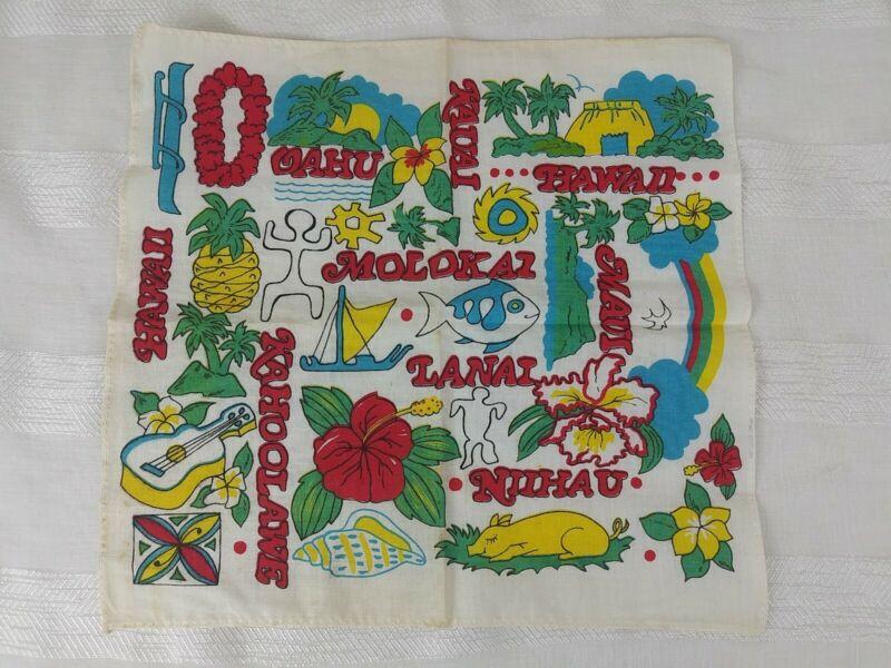 Vintage Hawaiian Hankerchief 1960s 1970s 10.5x10 Maui Lanai Kahoolawe Vintage