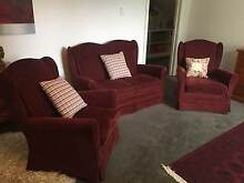 RED VELVET WING-BACK LOUNGE SUITE - PERFECT CONDITION Sandy Bay Hobart City Preview