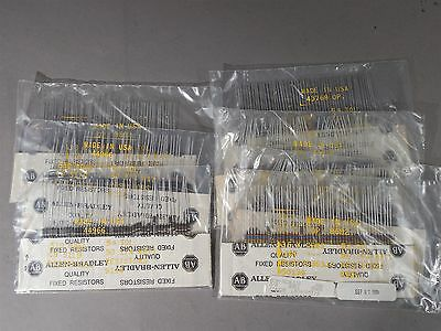 Mixed Lot Of 350 Allen Bradley 14 Watt Carbon Comp Resistors 620 3000 510