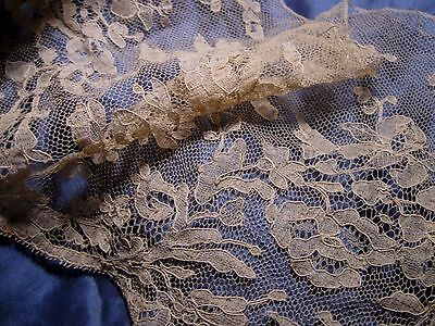 FINE AIRY ANTIQUE VICTORIAN BRIDAL WEDDING LACE FRENCH BEBE DOLL CLOTHES TRIM