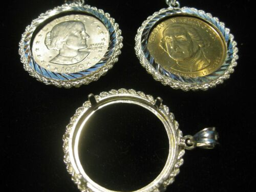 Dollar Coin Holder and Pendant in Sterling Silver