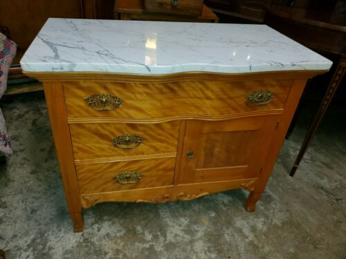 Antique Marble Top Wash Stand Cabinet - Beautiful Maple Wood