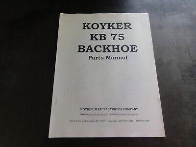 Koyker Kb 75 Backhoe Parts Manual