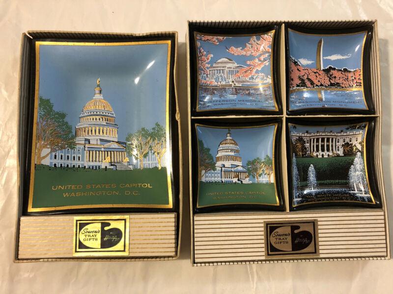 Vtg Lot HOUZE Art Glass Tray Souvenir Washington DC Buildings & Monuments
