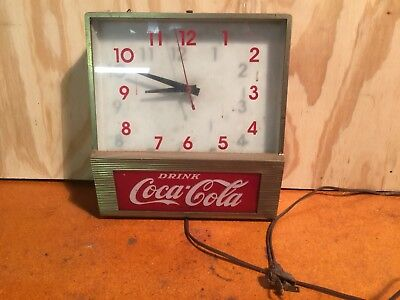 Vintage coca cola light up wall clockebay vintage drink coca cola fishtail price brothers light up wall clock mozeypictures Gallery